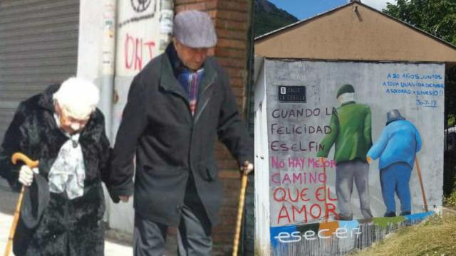 Há décadas de mãos dadas, este casal de idosos é símbolo de uma cidade
