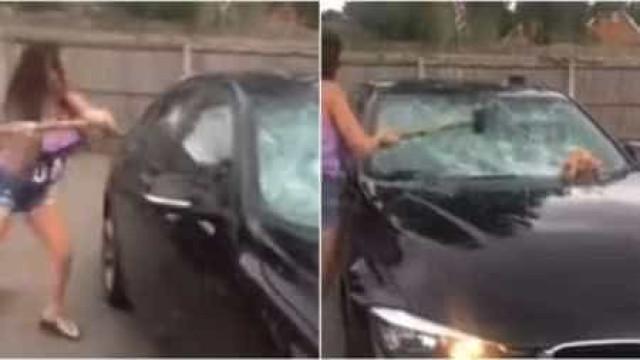 Mulher traída destrói carro do marido e filma tudo
