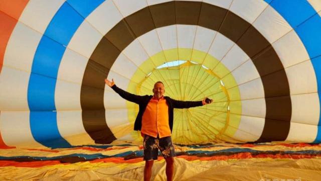 Goucha desfruta de um passeio de balão e mostra fotos de sua casa
