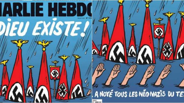 """""""Deus existe e afogou os neonazis do Texas"""". A capa do Charlie Hebdo"""