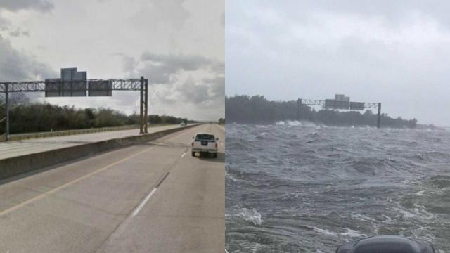 Era um autoestrada, agora é um oceano. O 'antes e depois' de Harvey