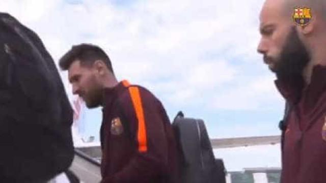 Assim foi a viagem dos jogadores do Barcelona até Lisboa