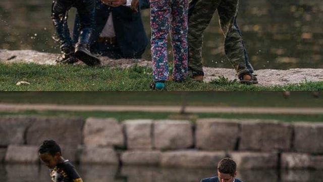 Noivo salva rapaz de afogamento durante fotografias de casamento