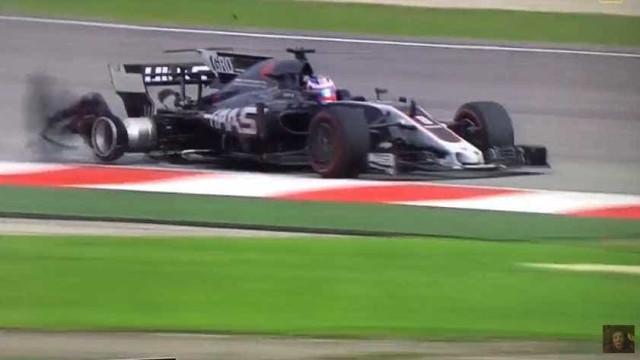 Susto na Malásia: Grelha levantada rebenta pneu do carro de Grosjean