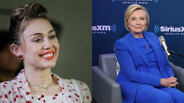 Miley Cyrus emociona-se ao prestar agradecimento a Hillary Clinton