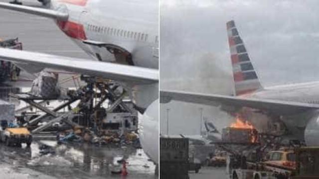 Avião incendiou-se hoje no aeroporto de Hong Kong. Há um ferido
