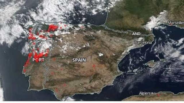 Imagens da NASA mostram tragédia dos incêndios em Portugal