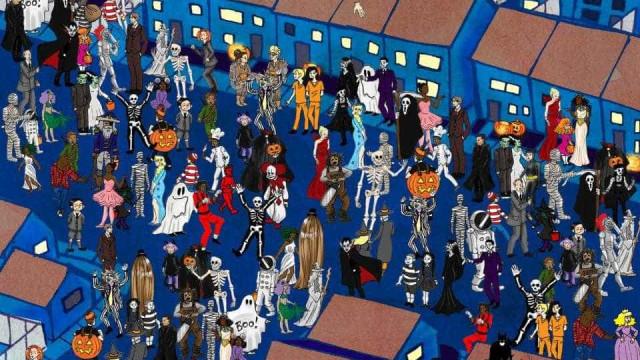 Consegue encontrar o convidado que está a mais nesta festa de Halloween?