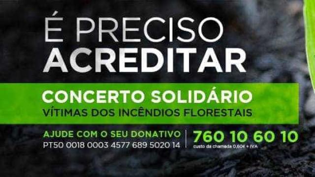 Artistas em concerto solidário pelas vítimas dos incêndios de outubro