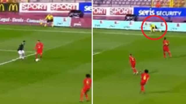 Nem o árbitro auxiliar escapou à técnica de Hazard