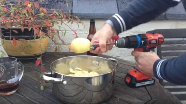 Descascar uma batata em cinco segundos? Sim, com um berbequim