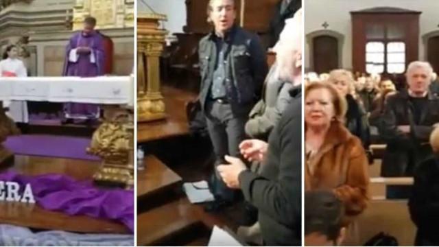 Coro, padre e fiéis cantam Xutos na missa em homenagem a Zé Pedro