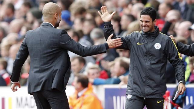 Após confusão em Old Trafford, Mikel Arteta esconde corte na face