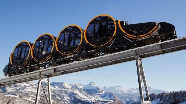 Triunfo tecnológico na origem do funicular mais íngreme do mundo na Suíça