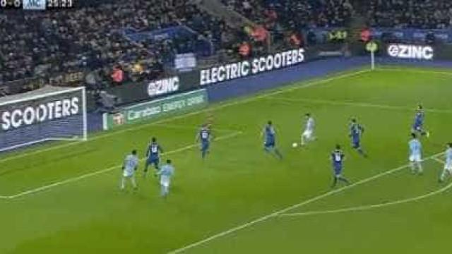 Foi assim que Bernardo Silva abriu o marcador do Leicester-Man. City