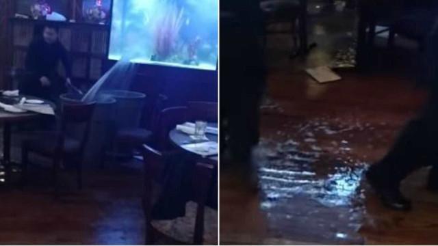 Jantar de Natal (quase) arruinado por aquário que rebenta em restaurante