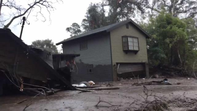 A devastação provocada pelo deslizamento de terras na Califórnia