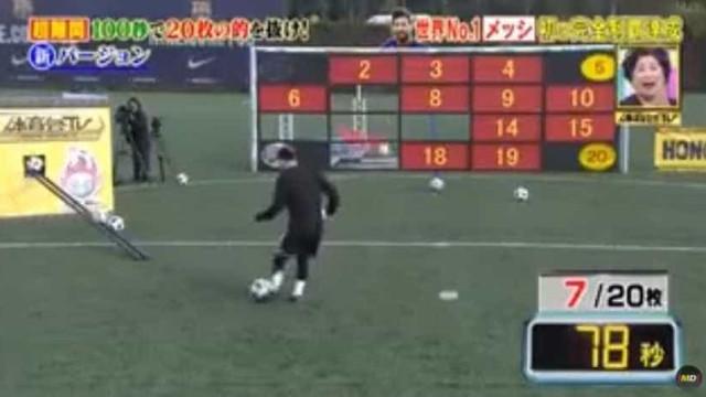 Japoneses desafiaram-no e Messi respondeu com 'show' de pontaria