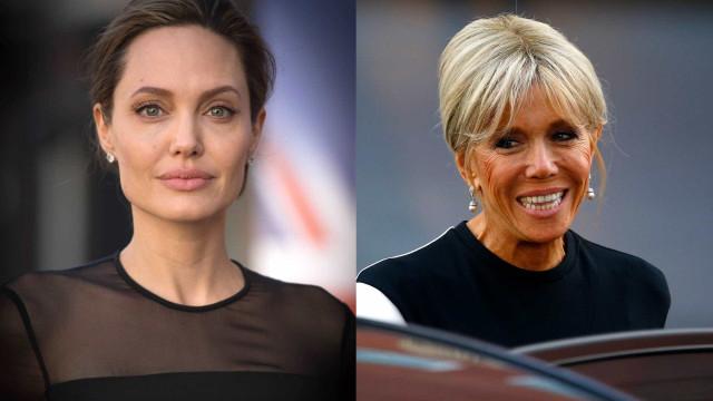 Angelina Jolie e Brigitte Macron espalham elegância durante encontro
