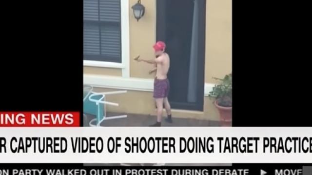 Atirador de Florida visto a treinar tiro com chapéu de campanha de Trump