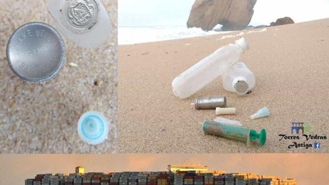 Estão a dar à costa garrafas de soro, agulhas e outros materiais clínicos