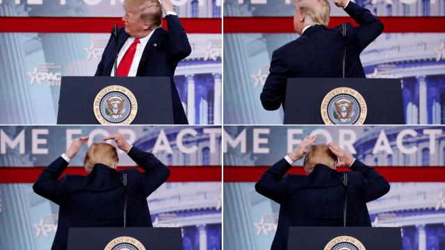 """Trump goza com o seu cabelo. """"Esforço-me muito para esconder a 'careca'"""""""