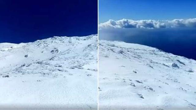 As imagens impressionantes da neve que cobre a montanha do Pico