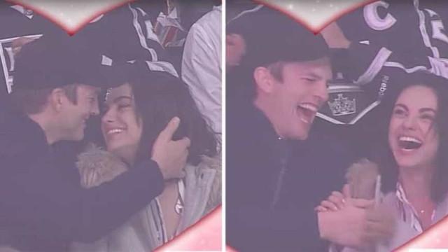 O momento hilariante em que Kutcher e Kunis são filmados a dar um beijo