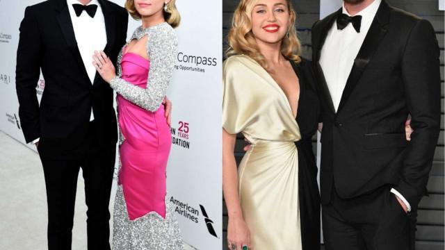 Miley Cyrus e Liam Hemsworth apaixonados na passadeira vermelha