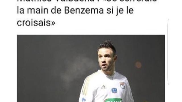 """Benzema para Valbuena: """"Guarde a mão"""""""
