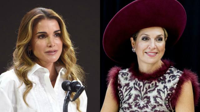 Rainhas dos Países Baixos e da Jordânia combinam os tons dos visuais