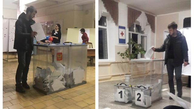 Fotografias aparentam mostrar russos a votar duas vezes