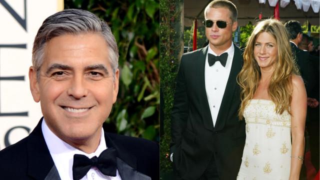 Brad Pitt e Jennifer Aniston mais próximos. O cupido é George Clooney