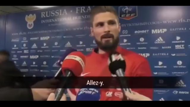 Giroud exalta-se com jornalistas na zona mista