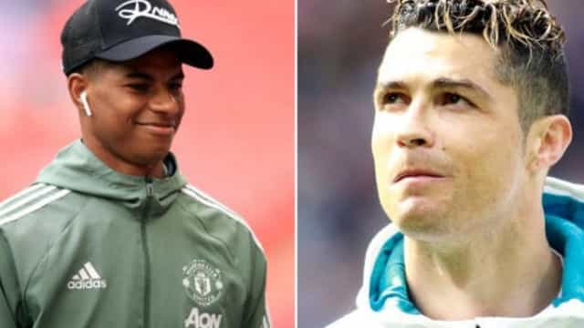 Rashford teve direito a (nova) prenda de Ronaldo e a dedicatória especial