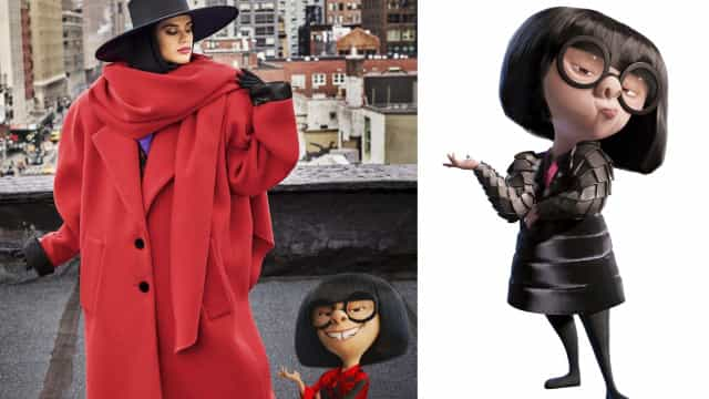 Sara Sampaio posa para Edna Mode, personagem de 'The Incredibles'