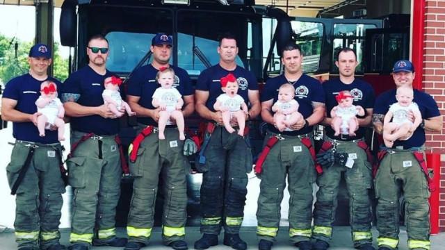 Paternidade levou estes sete bombeiros à ribalta