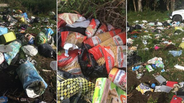 Alimentos e roupa doados encontrados abandonados em terreno