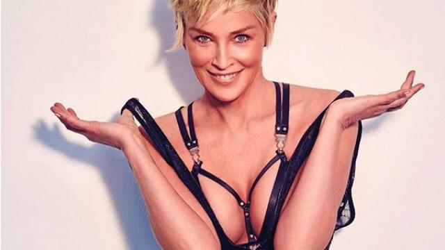 Sharon Stone arrasa em lingerie aos 60 anos