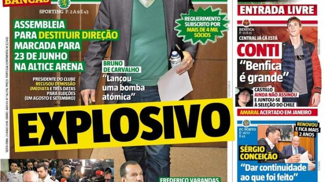 """Imprensa: A dúvida """"explosiva"""" em Alvalade e o... intocável"""