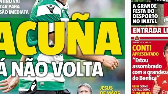 """Imprensa: Renato pode voltar, Acuña de partida e a aposta na """"casa"""""""