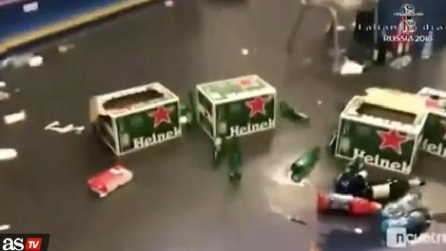 Cerveja, champanhe... Foi assim que ficou o balneário do Real em Kiev