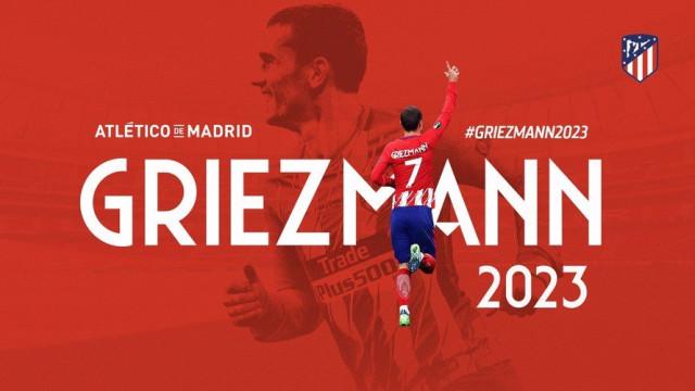 At. Madrid anuncia a renovação de contrato de Griezmann