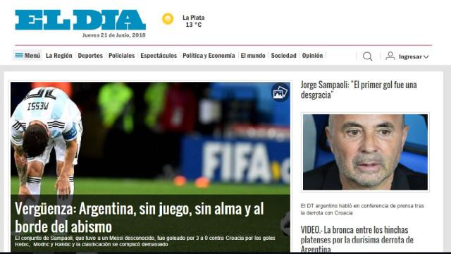 """Imprensa da Argentina arrasa seleção do seu país: """"És uma vergonha"""""""
