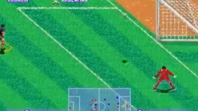 Golo da Croácia após erro de Caballero reproduzido em jogo dos anos 90