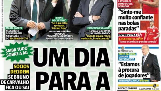 Imprensa: Um dia para a história e o desejo de Pinto da Costa