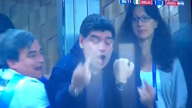 Gesto feio de Maradona prova que há estrelas com prazo de validade