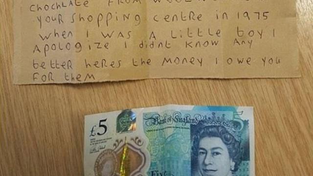 Homem que roubou chocolates há 40 anos envia carta a pedir desculpas