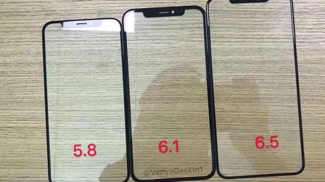 Imagem mostra os ecrãs dos três iPhones previstos para este ano