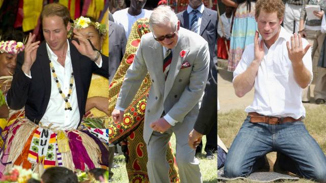Os hilariantes 'passos de dança' da família real
